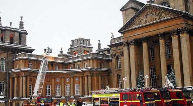 Fire engines outside Blenheim Palace in Woodstock, Oxfordshire, where staff set fire to the roof while attempting to thaw frozen pipes