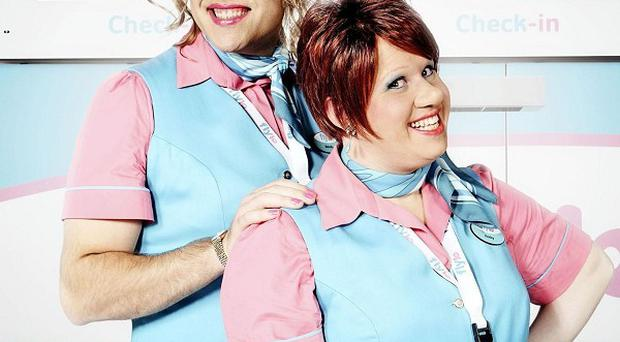 David Walliams as Melody and Matt Lucas as Keeley from the new BBC comedy Come Fly With Me