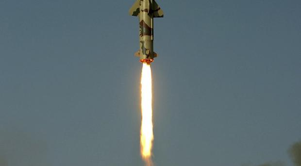 Surface-to-surface missile Prithvi II takes off from Chandipur in Orissa, India (AP)