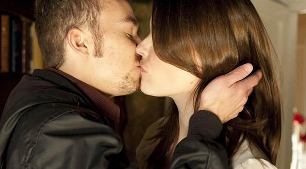Tracy Barlow (Kate Ford),locks lips with David Platt, played by Jack P Shepherd, but soon moves on to his brother Nick