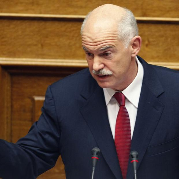 Greek Prime Minister George Papandreou speaks during the budget debate (AP)
