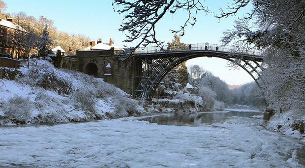 The River Severn was frozen over at Ironbridge near Telford, Shropshire