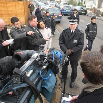 Sutton Borough Commander Guy Ferguson speaks to the media on Demesne Road, in Wallington where a woman was mauled to death