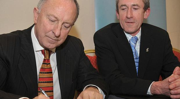 Justice Minister Dermot Ahern (left) and Kieran Rose, chair of The Gay and Lesbian Equality Network