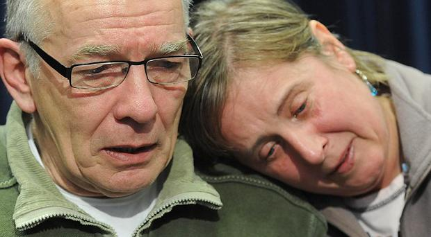 Joanna Yeates' parents David and Theresa discussing their daughter's disappearance at a press conference (Bristol News and Media)