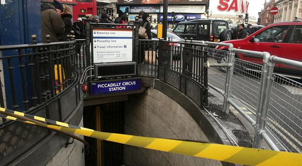 A closed entrance at Piccadilly Underground station in London, as the latest Tube strike caused disruption
