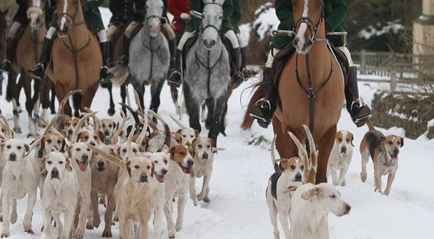 The Heythrop hunt parades through Chipping Norton in Oxfordshire