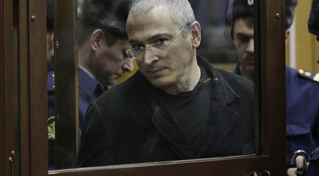 Mikhail Khodorkovsky appears in court in Moscow (AP)