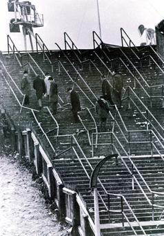 Bent and twisted barriers on the terrace where 66 died