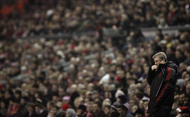 Liverpool manager Roy Hodgson on the touchline during the Barclays Premier League match at Anfield, Liverpool.