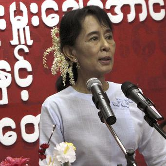 Aung San Suu Kyi called for assistance from the international community to help victims of Cyclone Giri (AP)