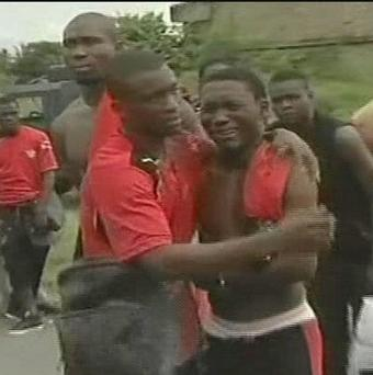 Members of the Togo football team after their bus was attacked by gunmen in Angola in January (AP/TPA via APTN)
