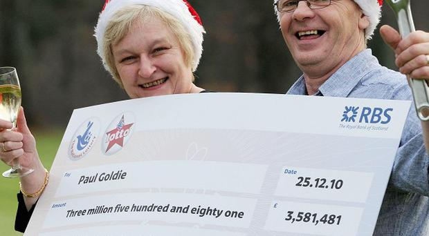 Plumber Paul Goldie and wife Christine celebrate their lottery win