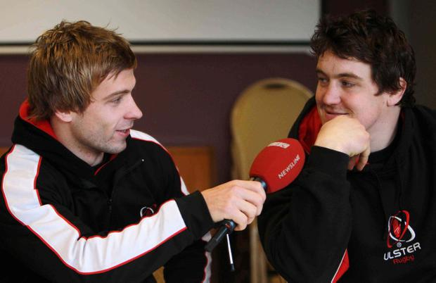 Ulster's Declan Fitzpatrick (right) and team-mate Paul Marshall have some fun with TV microphone ahead of the serious stuff against Munster tomorrow night