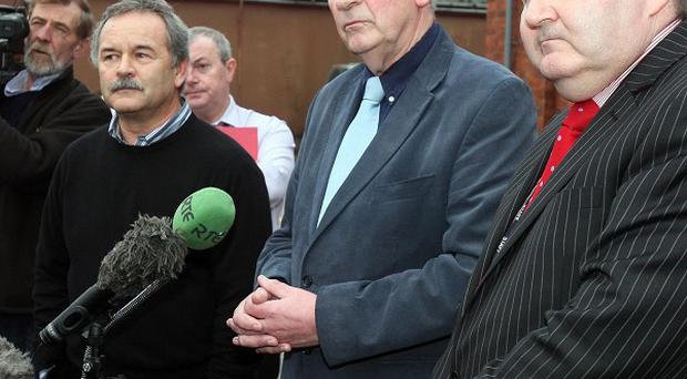 Trevor Haslett, Director of Engineering, Padraic White (middle) Interim Chairman and Laurence MacKenzie, Chief Executive Officer (right) all from Northern Ireland Water speak to the media