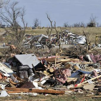 The remains of a home and fire station after a tornado tore through a small town in Arkansas