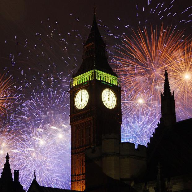 Fireworks over the Houses of Parliament during the New Year celebrations in London