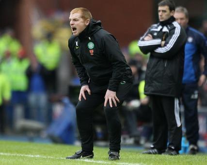 GLASGOW, SCOTLAND - JANUARY 02: Celtic coach Neil Lennon reacts during the Clydesdale Bank Premier League match between Rangers and Celtic at Ibrox Stadium on January 2, 2011 in Glasgow, Scotland.. (Photo by Jeff J Mitchell/Getty Images)