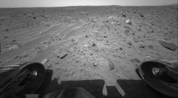 The odometer on Mars Spirit remains stuck at 4.8 miles (AP)