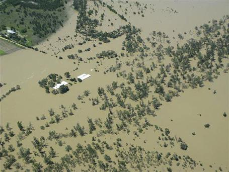 Property covered in floodwaters near Emerald, Australia, Sunday, Jan. 2, 2011