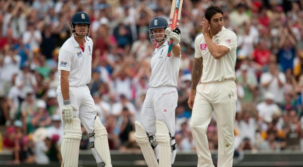England captain Andrew Strauss salutes the crowd after reaching his half century during the fifth Ashes Test at the Sydney Cricket Ground