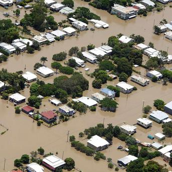 The flooded suburb of Depot Hill at Rockhampton, Australia (AP)