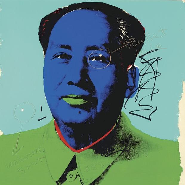 The portrait of Mao Tse-Tung by Andy Warhol, with two bullet holes added by Easy Rider star Dennis Hopper (AP)