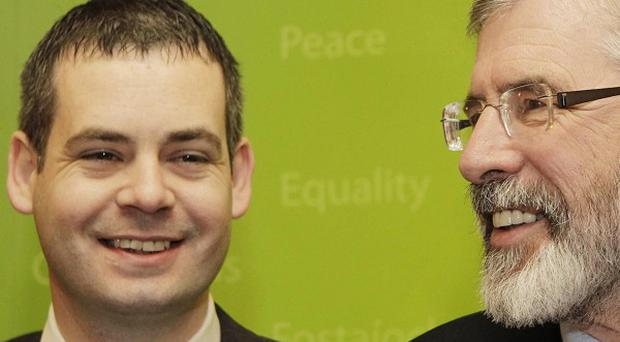 Newly elected TD for Donegal South West, Pearse Doherty (left) and Sinn Fein leader Gerry Adams