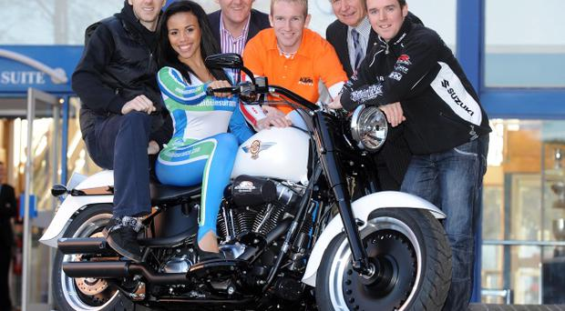 Miss Northern Ireland Lori Moore helps launch the Adelaide Motorcycle Festival in Belfast with top riders Ian Hutchinson, Martin Barr and Alistair Seeley with Sam Geddis of Adelaide and show promoter, Billy Nutt