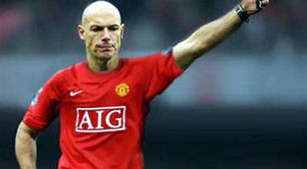 The mocked-up picture of Howard Webb