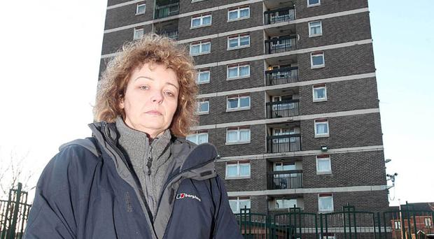 Residents were rescued from a fire on the 16th floor Grainne House in north Belfast. North Belfast Sinn Féin MLA Carál Ní Chuilín is pictured at the scene