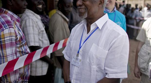Former UN Secretary General Kofi Annan visits a referendum polling centre in the southern Sudanese city of Juba (AP)