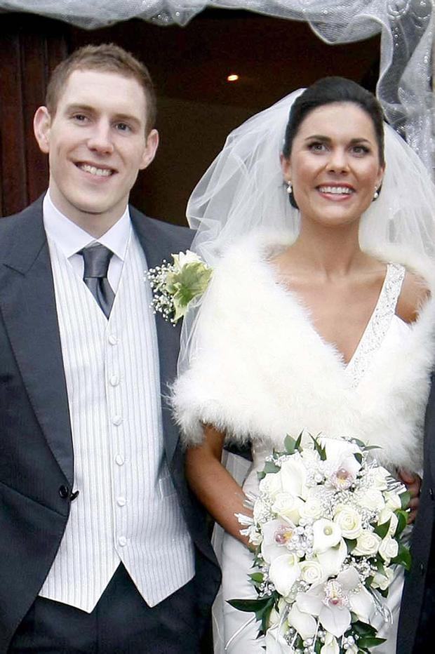 John McAreavey and wife Michaela Harte are seen on their wedding day at St. Malacheys Church Ballymacilrory on December 30, 2010.