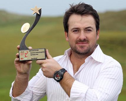 Graeme McDowell displays his Belfast Telegraph Sports Star of 2010 award, announced last night at Ramada Plaza Hotel in Belfast.