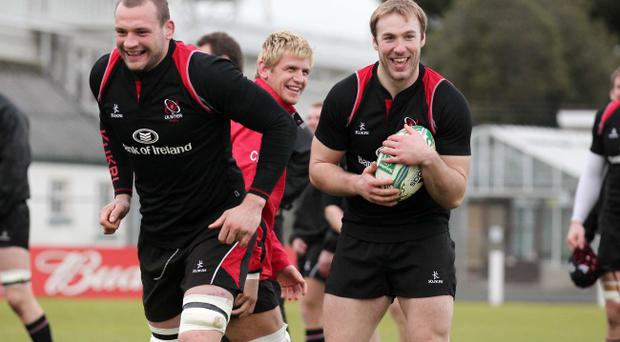 Two of Ulster's main men, Dan Tuohy (left) and Stephen Ferris, in training yesterday ahead of Saturday's Ravenhill showdown with Biarritz.
