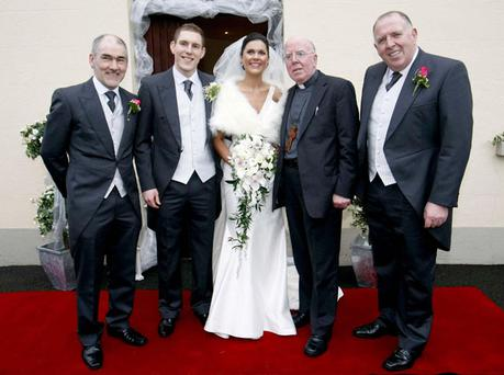 (From the left) Mickey Harte, John McAreavey, Michaela Harte, Bishop John McAreavey and Brendan McAreavey are seen on the wedding day of Michaela Harte and John McAreavey