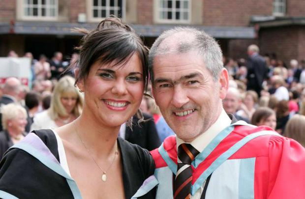 Tyrone GAA boss Mickey Harte graduates at Queens University pictured with his daughter Machela who also graduatedand became a Bachelor in Education