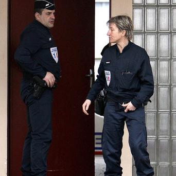 Police officers outside the building where a suspected member of Eta was arrested in Ciboure, France (AP)