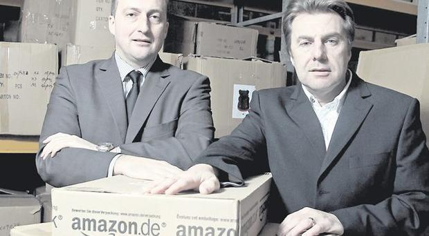 Ulster Bank's James Foote (left) and Denis Kelly of Urbanpup which sells luxury pet accessories
