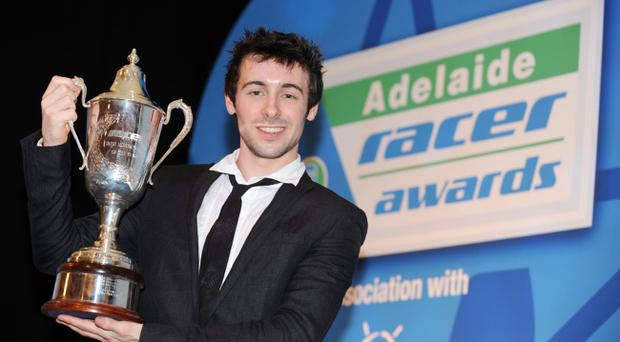 Eugene Laverty celebrates last year and will be hoping to retain the Irish Motorcyclist of the Year award tonight.