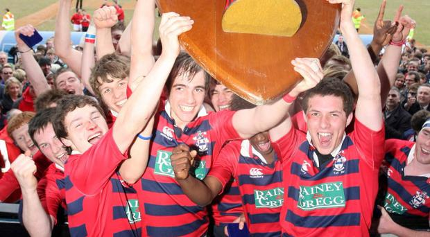 Ballymena captain George Dennison lifts last year's Schools' Cup.