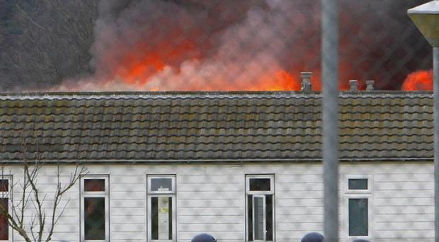 Buildings were set alight during the riot at Ford open prison on New Year's Day