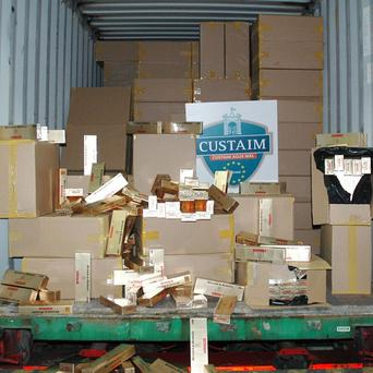 The eight million cigarettes were seized from two trucks near Drogheda, Co Louth