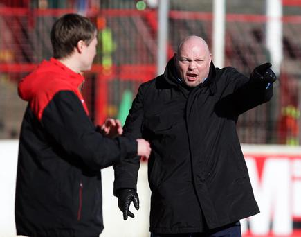 Linfield manager David Jeffrey hopes his side can go eight points clear at the summit of the Carling Premiership with a win over Scott Young's (left) Glentoran side at Windsor Park tonight.