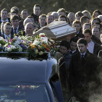 Michaela McAreavey's coffin is carried from her parents' home in Ballygawley
