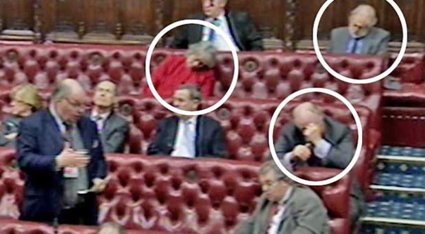 Peers including Lords Puttnam (top right) and Kinnock (bottom right) nod off during the filibustering