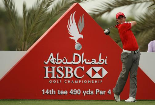 Rory McIlroy of Northern Ireland during the pro-am event yesterday prior to the Abu Dhabi HSBC Golf Championship.