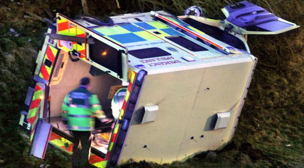 The ambulance after it crashed down a 30ft embankment off the main road near Brookeborough