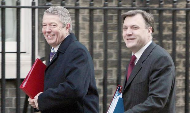 Alan Johnson and his successor Ed Balls arriving for a cabinet meeting at 10, Downing Street in London.