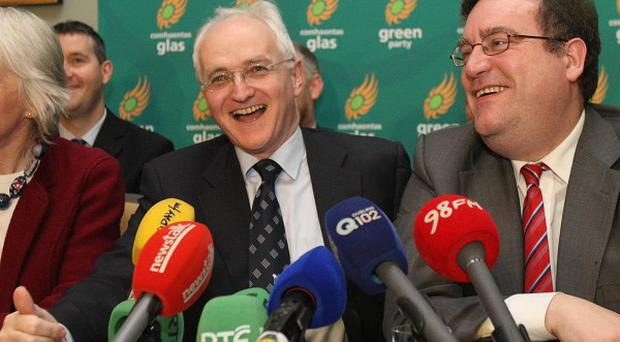 Green Party leaders (from left) Mary White, John Gormley and Dan Boyle at a press conference at the Merrion Hotel in Dublin